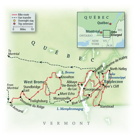 Quebec Townships Bike Tour Map