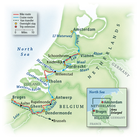 Holland and Belgium Bike & Barge: Amsterdam Map