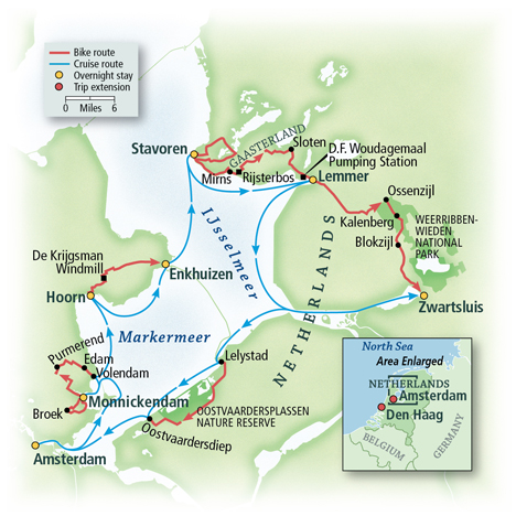 Dutch Bike & Sail Adventure Map