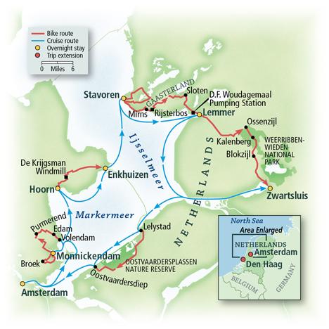 North Holland Bike and Sail Map