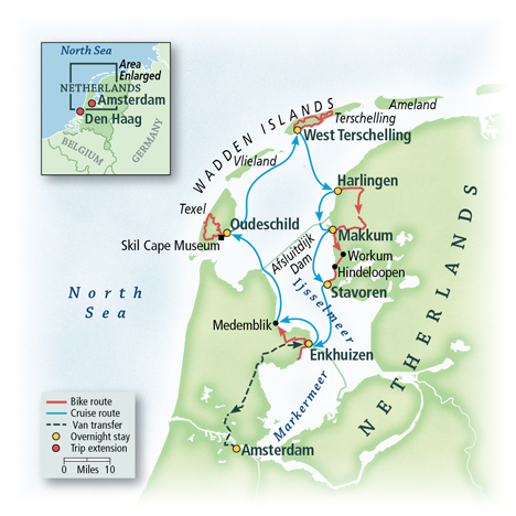 North Holland and Friesland Bike & Sail Map