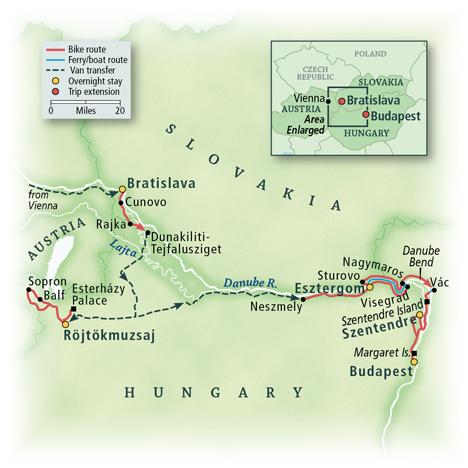 Hungary Bike Tour Map
