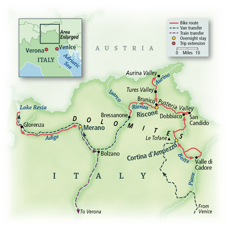 Italy: Cycling the Dolomite Valleys Map