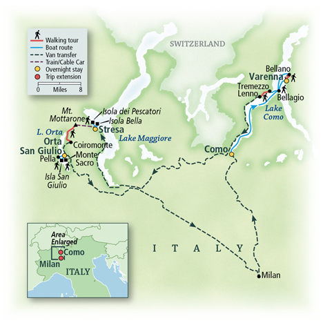 Map - Walking the Italian Lakes