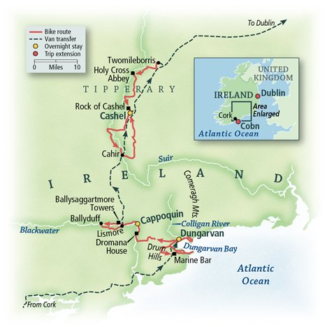 Bike Tour Map for Southern Ireland