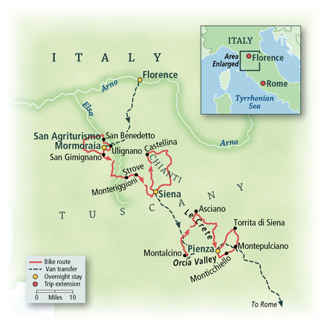Tuscan Hill Towns by Bike Map