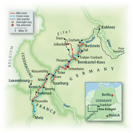Heart of Europe Cochem to Metz Map
