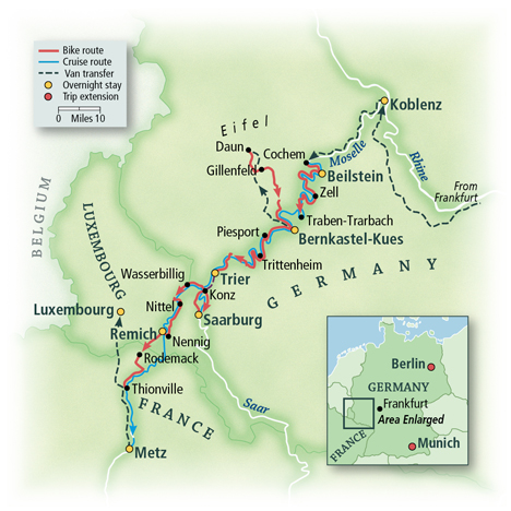 Heart of Europe Bike & Barge: Cochem to Metz Map