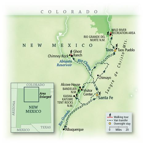 Santa Fe & Taos: Walking New Mexico Map