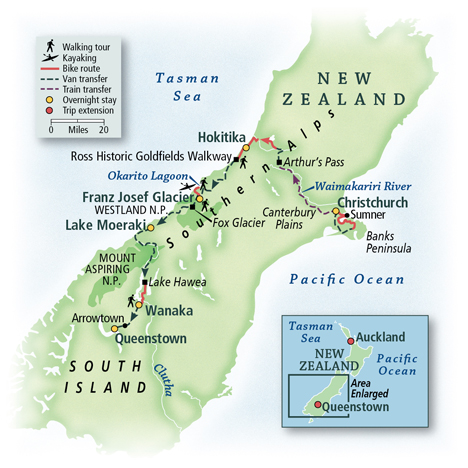 New Zealand Bike and Walk Tour Map