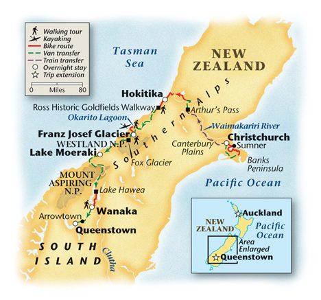 2018 New Zealand Tour Map