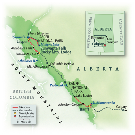 Canadian Rockies Bike Tour Map
