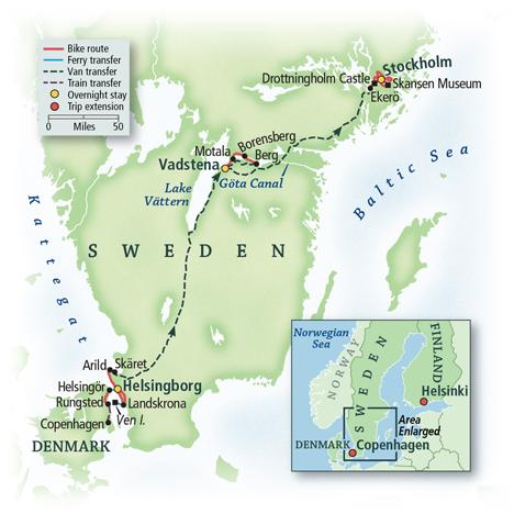 Scandinavia Bike tour map