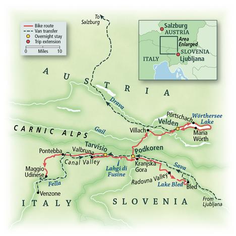 Slovenia, Austria & Italy Map