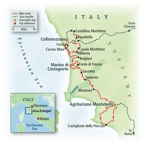 Tuscan Coast Bike Tour Map
