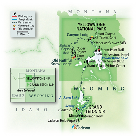 Yellowstone & Grand Teton: Walking America's First National Park Map
