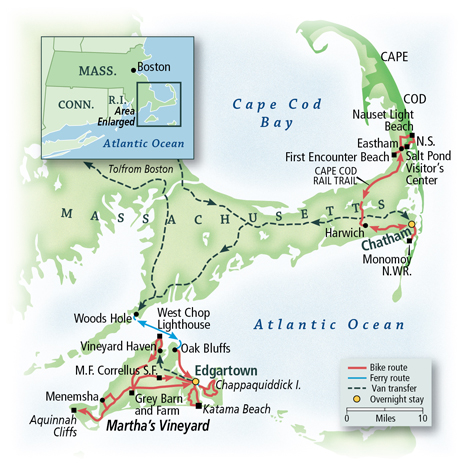 Cape Cod & Martha's Vineyard Map