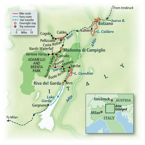 Dolomite Bike Tour Map