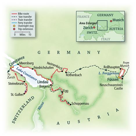 Lake Constance: Germany, Austria & Switzerland Map