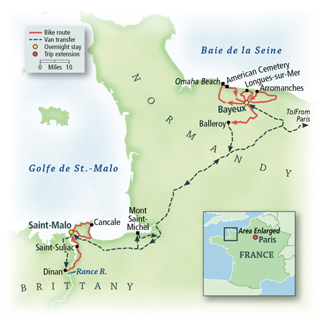 Bicycling France: Normandy & Brittany Map