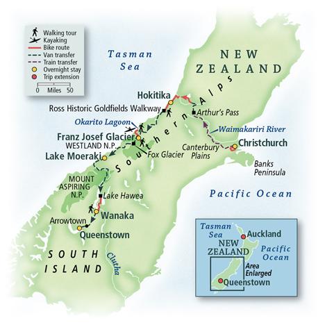 New Zealand Bike and Walk Tour Map