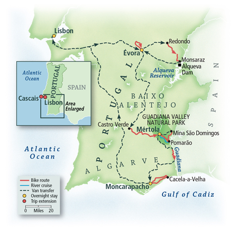 Biking Southern Portugal: Alentejo to the Algarve Map