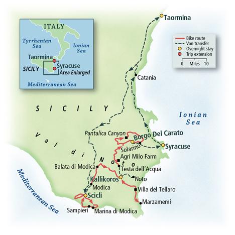 Sicily: Biking the Southern Coastal Villages Map