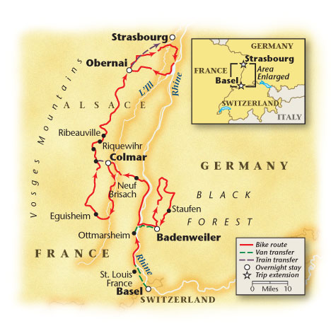 Alsace Bike Tour Map