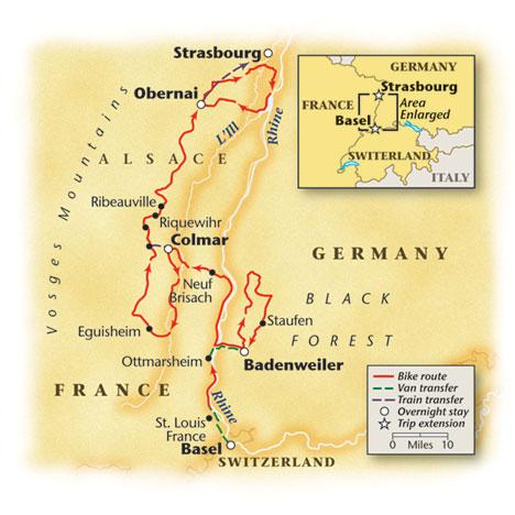 Alsace Bike Tour Route Map