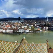 View over Basel and the Rhine knee from Basler Münster