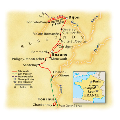 Burgundy Bike Tour Map