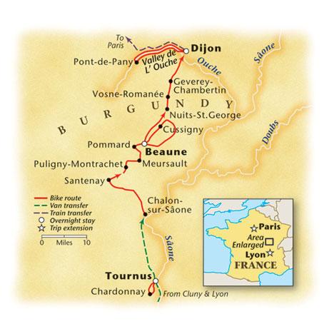 Burgundy Bike Tour Map