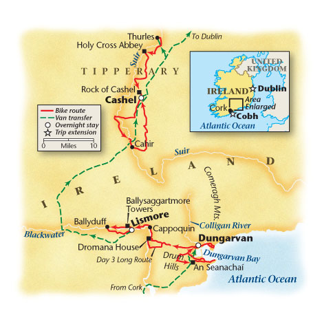Cycling Southern Ireland Bike Tour Map