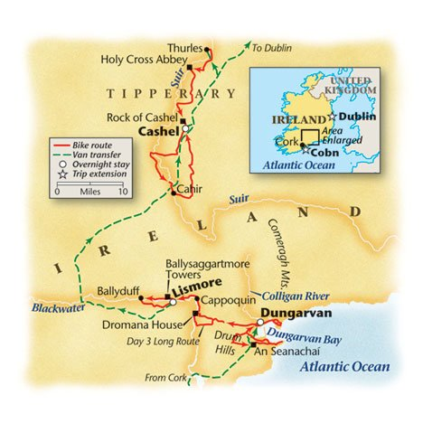 Map of Southern Ireland bike route
