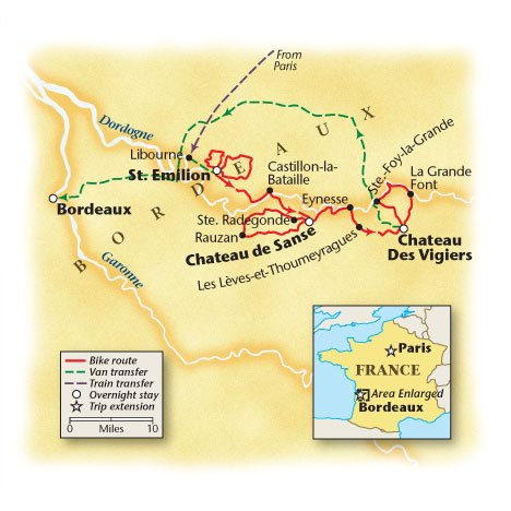 Bordeaux, France Bicycle Tour Map