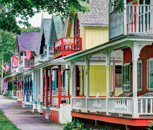 Gingerbread cottages, Oak Bluffs, Martha's Vineyard, Massachusetts