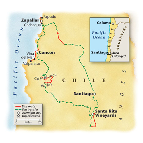 Map of Chile Route for Bicycle Vacation