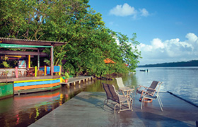 The canal side bar at the Pachira Lodge in Tortuguero National Park Costa Rica Central America.