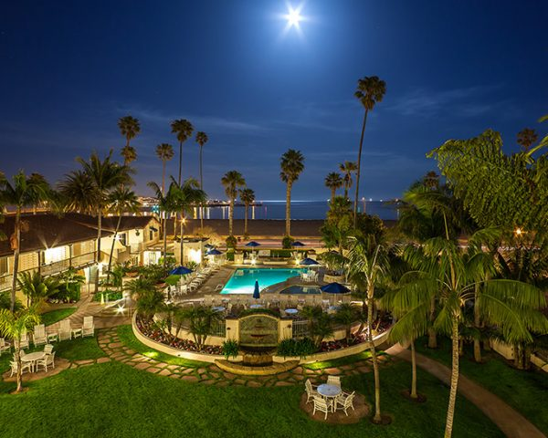 California Harbor View Inn Pool at Night
