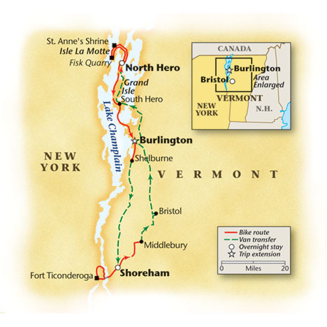 Bike Map for Vermont Champlain Island Tour