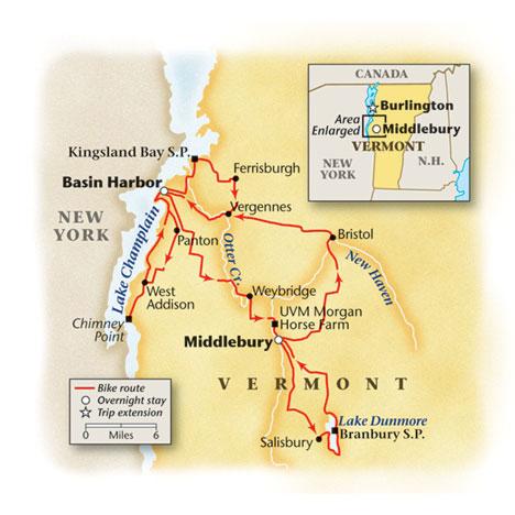 Classic Vermont Bike Tour Map