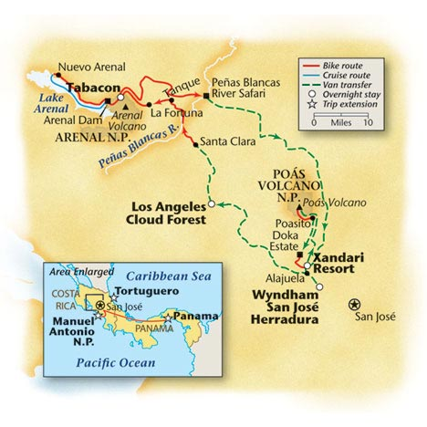 Costa Rica Bike Tour Map
