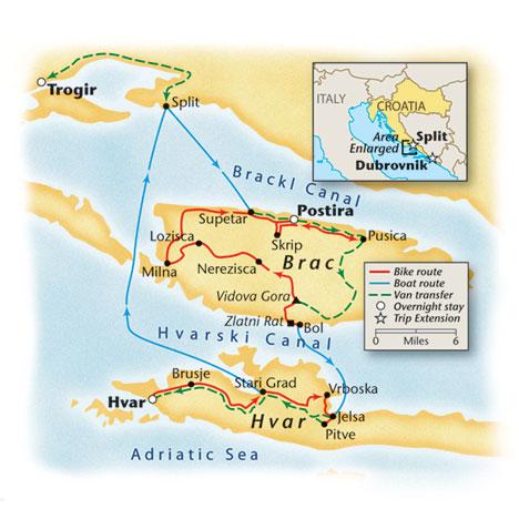 Croatia Bike Tour Map