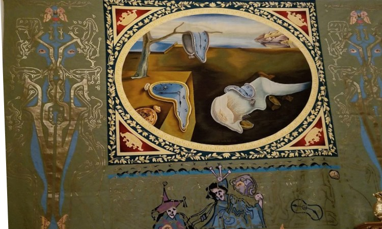 Dali time tapestry, pubol, spain, vbt bike tour