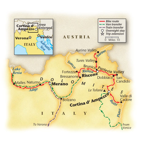 Cycling the Dolomite Valley Bike Tour Map