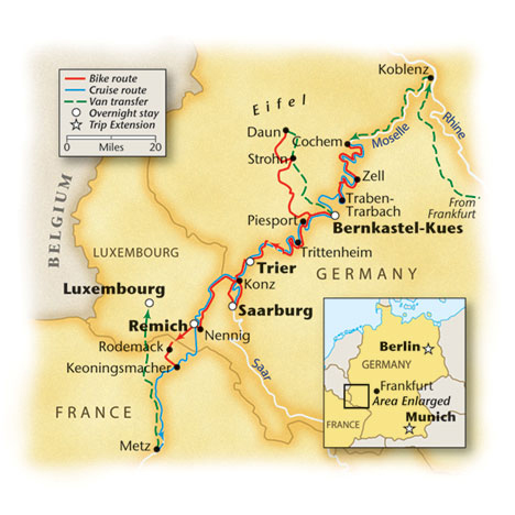 Europe Bike and Barge Tour Map