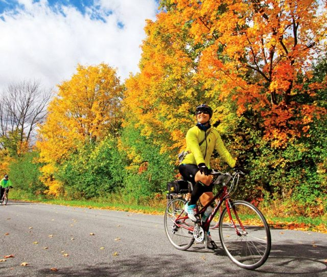 Foliage bike ride in the Champlain Islands of Vermont.