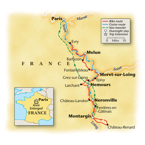 France Bike and Barge Map