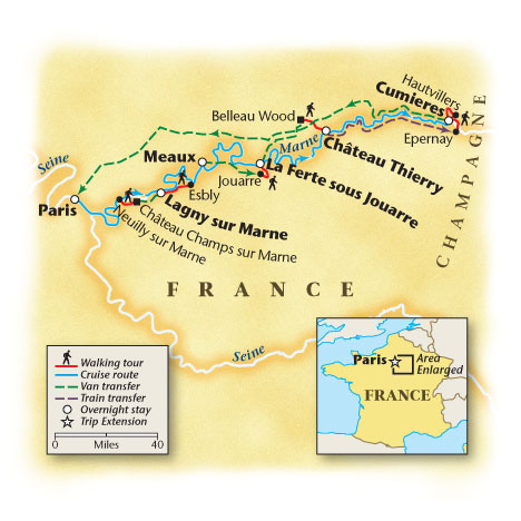 France Walk and Barge Tour Map
