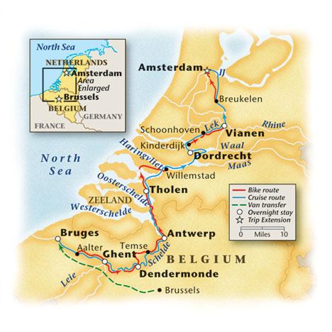 Holland Bike Barge Tour Map